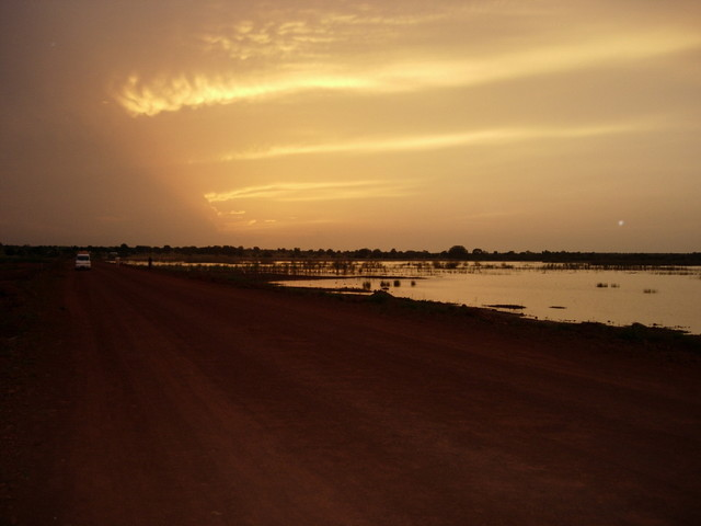 Sunset at Kau-ur Wetlands after sightings of  20 Egyptian Plovers, Greater Swamp Warbler, Black Crake, Wooley-necked Stork, and 2000+ Collared Pratincoles--P Ferrera