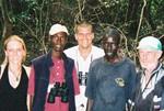 Gambian, Dutch, American, and Irish birders in Abuko Nature Reserve