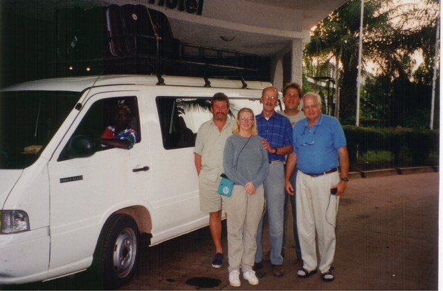 Clive, Andy, and birding guests at Atlantic Hotel in Banjul