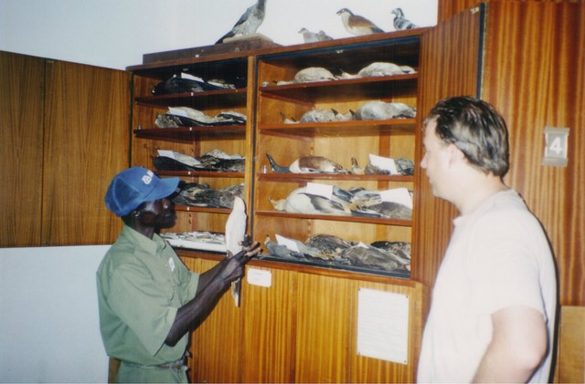 Andy and Mamadou Sakho with the skins collection of Morel at Mbour IRD Reserve